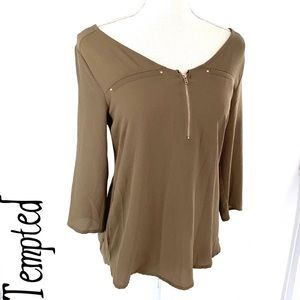 Tempted brown Brown textured blouse